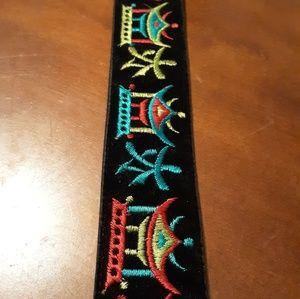 Black Velvet Belt with Asian Stitching